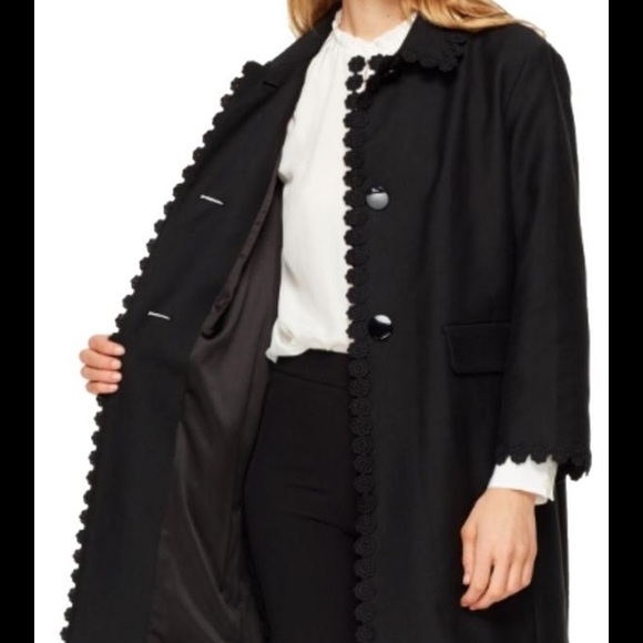 Kate Spade Floral Lace Trim Coat Black NWT $598